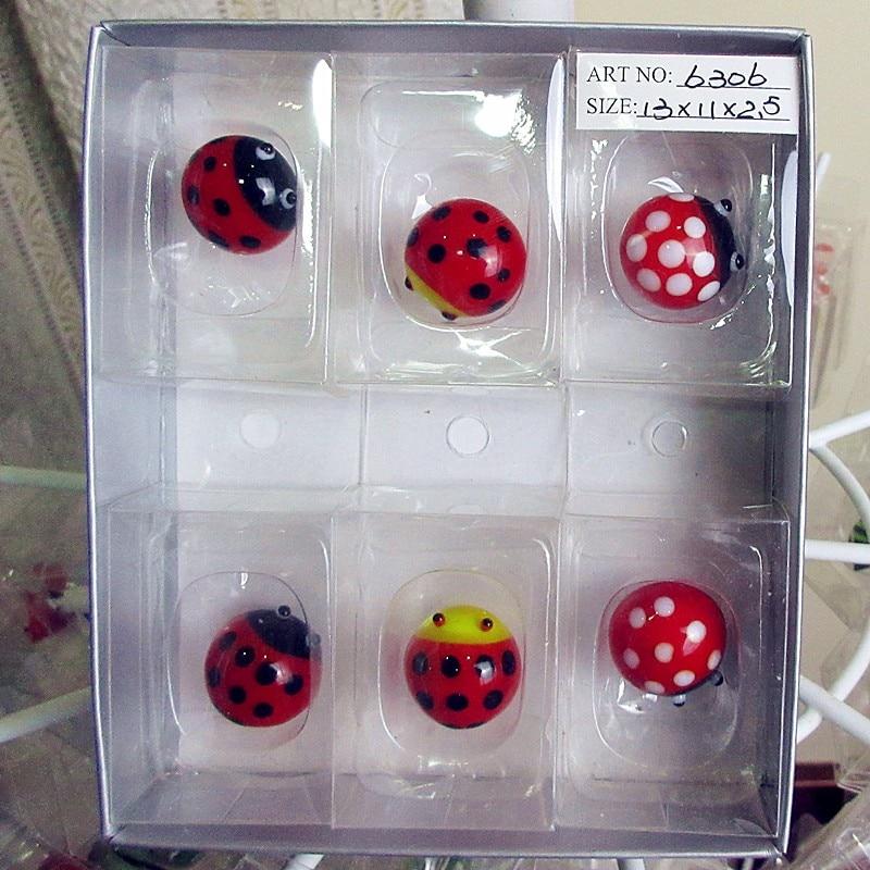 Wholesale custom color glass sculpture Ladybug hand blown ornaments Home Furnishing cartoon animal gardening decoration
