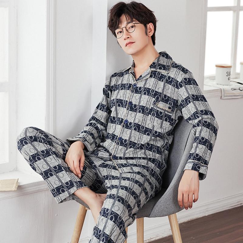 Men's Geometric Patterns Pajama Sets Yarn Weave Cotton Men Pajamas Comfy Sleepwear Men Plus Size M-4XL Soft Nightgown Pyjamas
