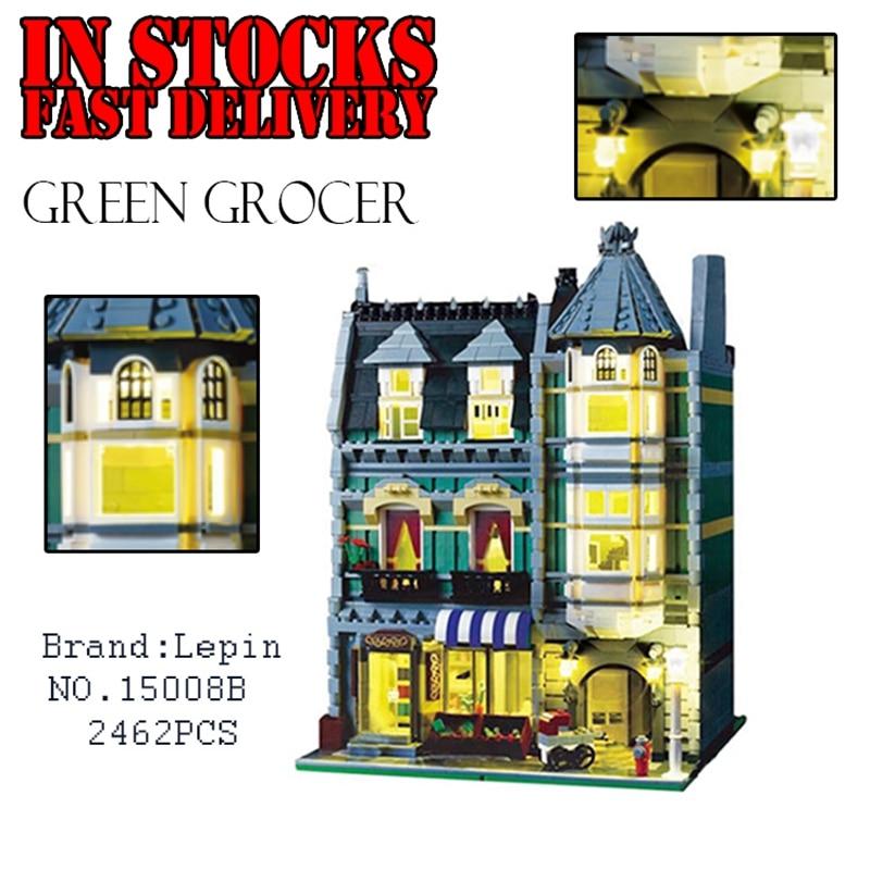 Lepin 15008B 2462Pcs City Street Creator Green Grocer Model Kits with lights Blocks Building Bricks toys for childrenGifts 10185 15008b 2462pcs dhl city street green grocer model building kits blocks bricks toys gifts compatible 10185 lepin