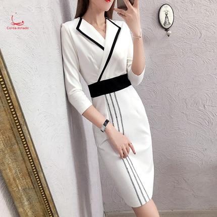 Tenue printemps et automne 7 minutes manchon fesse tenue professionnelle à la mode costume de tempérament élégant obtient robe blanche