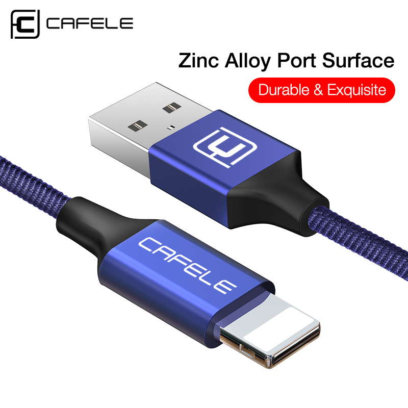 Cable USB trenzado de nylon Cafele Cable de carga USB de 8 pines para iPhone 7 Plus / 7 / 6s Plus / 6s / 6 Plus / 6 / 5s / 5c / 5
