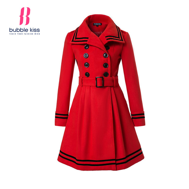 c5d8118f5 Winter Spring Trench Woolen Coat Women Long Sleeve Double Breasted ...