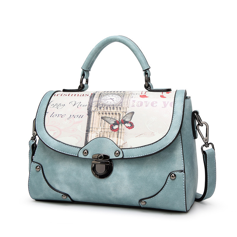Vintage Printing Women Handbag PU Leather Brand Fashion Ladies Shoulder Bag Crossbody Messenger Bags Female Design Printed Tote