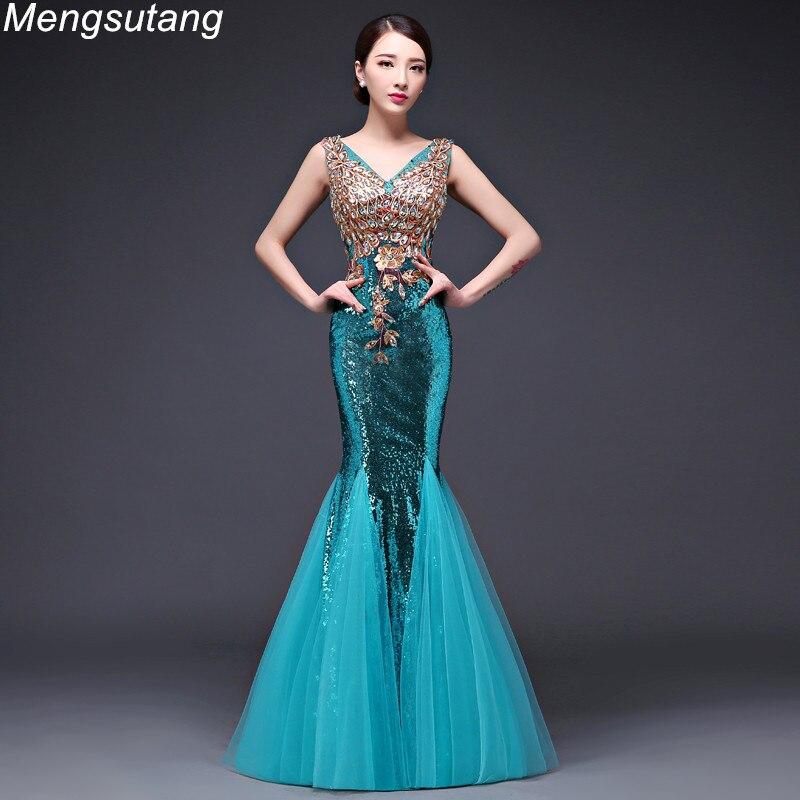 Robe de soirée dentelle col en v perlée Sequin longue Robe réfléchissante sirène robes de soirée Robe de fête de bal