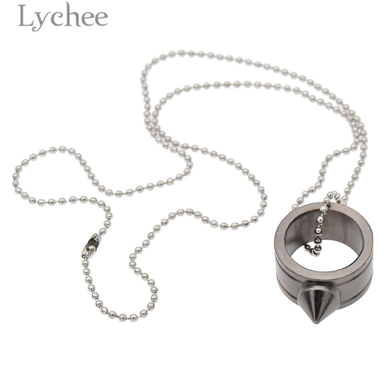 Lychee Punk Alloy Women Self-defense Ring Conical tip Geometric Steel Color  Ring Safe Jewelry c12faff787