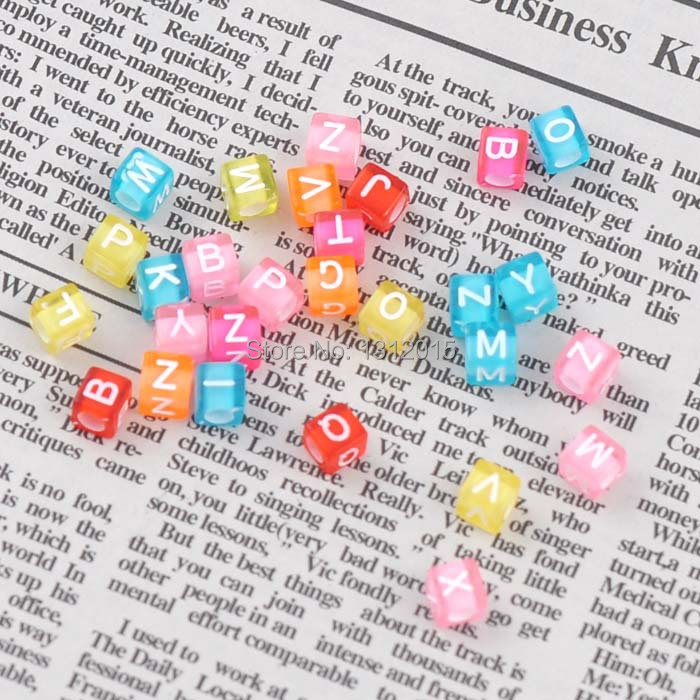 """Free shipping (sold per lot of 400) Mixed Multicolor Alphabet & Letter """"A-Z"""" Acrylic beads Cube Charms DIY Beads 6x6mm YKL0149"""