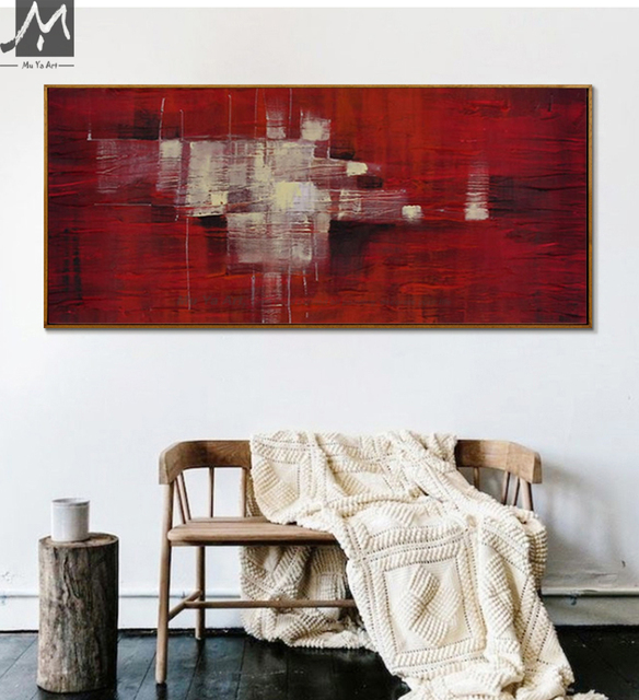 Incroyable Grand Mur Photos De Peintures Abstraites Moderne Abstraite Acrylique  Peintures Pour Le Salon Mur En Rouge