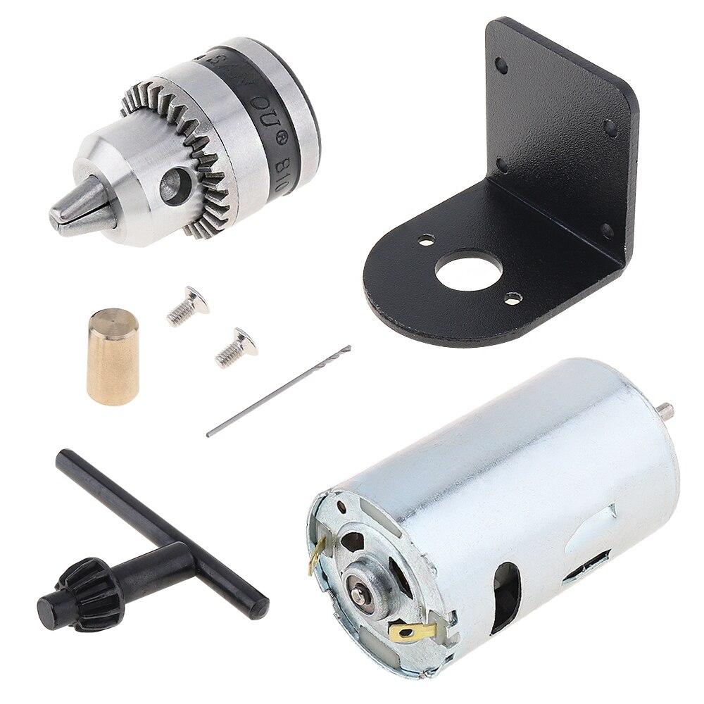 Mini perceuse à main de banc de moteur de cc 12 V-36 V 555 avec le mandrin et le support de montage de 0.6-6mm B10 presse de tour jeu d'outils de bricolage de moteur