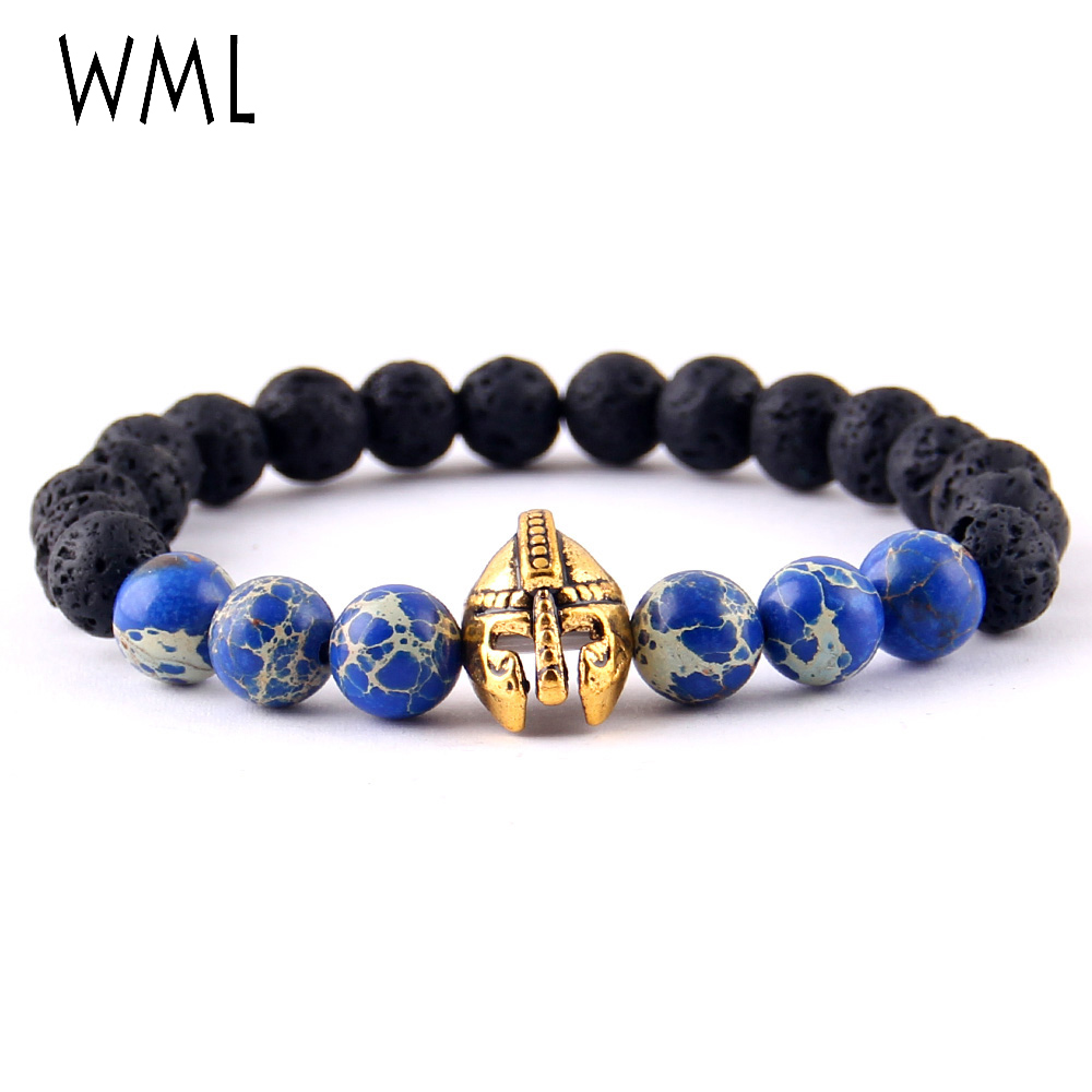 WML Roman Knight Spartan Warrior Gladiator Helmet Bracelet 8mm lava stone Bead Emperor stone men Bracelets For Men Jewelry image