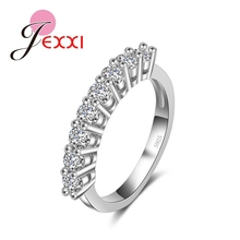 JEXXI 2016 Fashion New Style 925 Sterlling Silver Jewelry Bridal With Full White CZ Diamond Stone Ring for Women/Girls