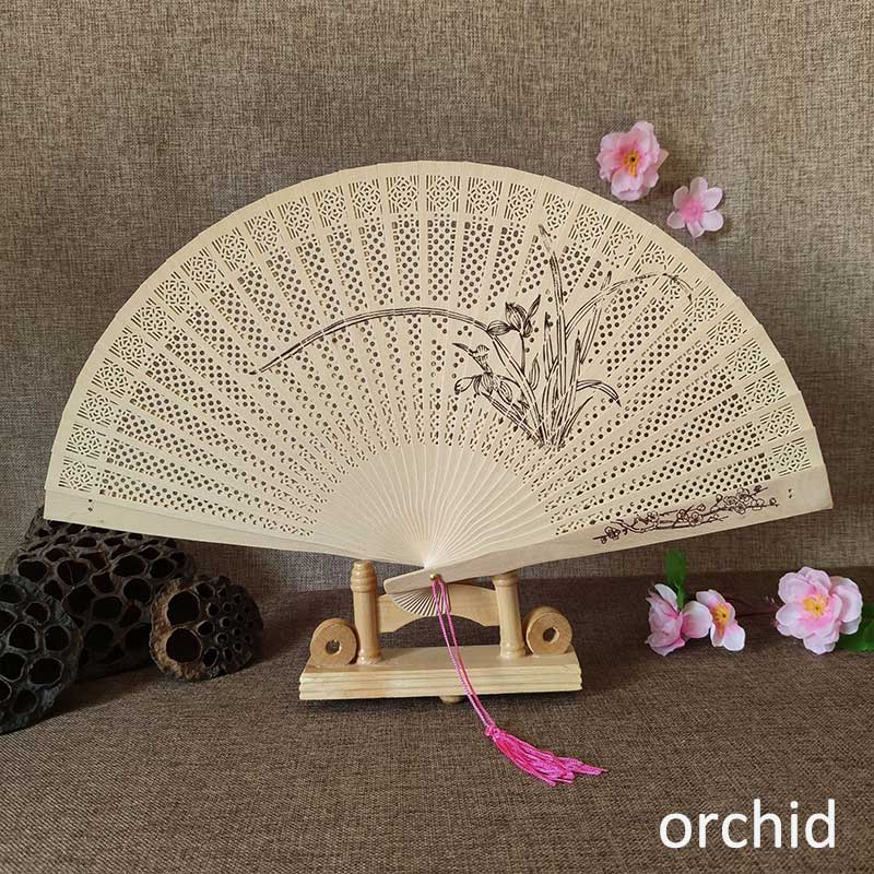 1Pcs Hand-made Antique Craft Fan Vintage Hollow Incense Wood Lady Folding Fans Chinese Style Wood Carving Printing  Decoration