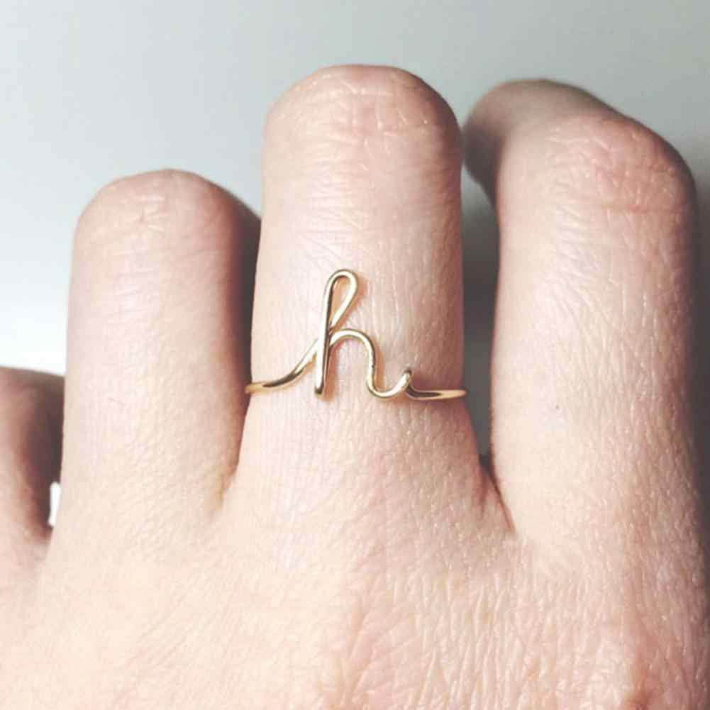 Fashion Women Simple English Alphabet Letter Finger Ring Jewelry Decor Couple Finger Rings For Lovers