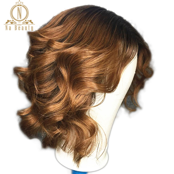 180 Density 1B 30 Ombre Color Short Wigs Loose Wave 13x4 Lace Front Color Bob Wigs Pre Plucked Human Black Hair Wigs For Women