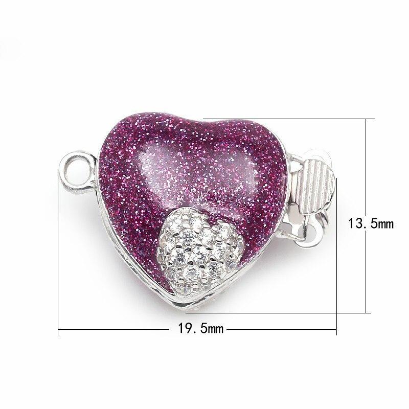 Forme de coeur émaillé violet Micro Pave Zircon boîte en argent Sterling fermoirs crochets résultats de bijoux pour collier de perles SC-BC221 - 4