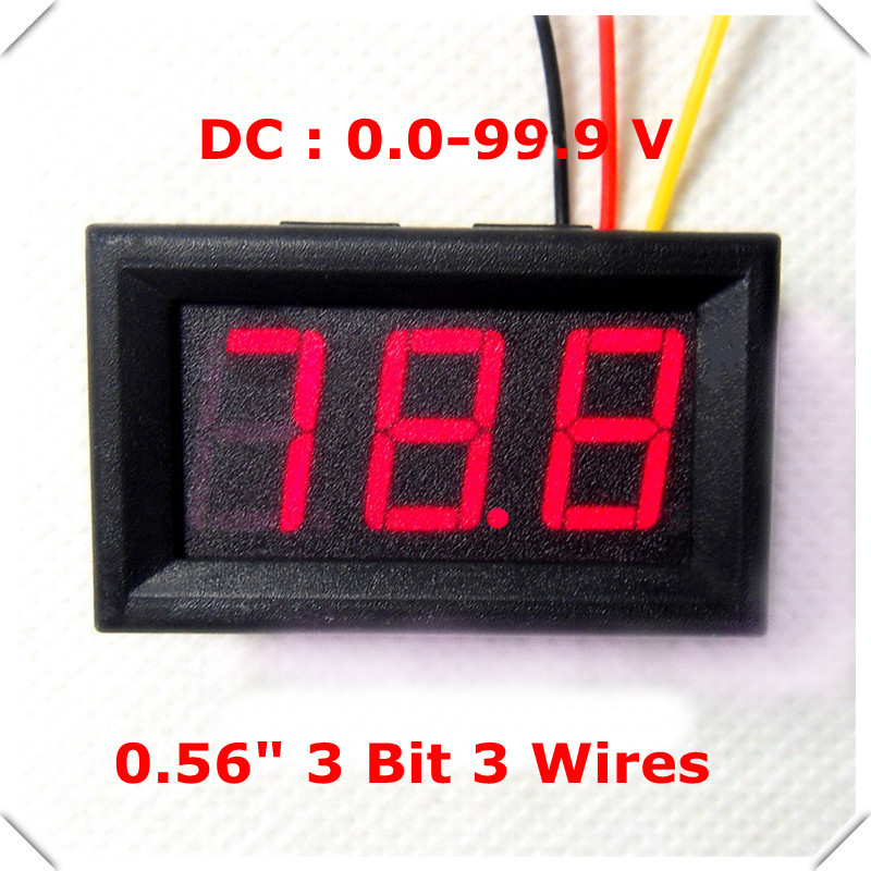 Small Digital Voltmeters Dc : Rd led display color quot digital voltmeter dc v