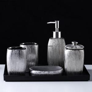 Image 2 - European style bathroom set of 6 electroplating silver ceramic toiletries set melamine tray bathroom accessories decoration