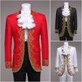 Hombres vintage barroco europeo royal court prince traje abrigo de cuello de encaje de halloween cosplay uniforme outfit