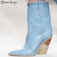 BuonoScarpe Crocodile Skin Botas Mujer Western Boots Cowboy Boots For Women Runway Design Chunky Wedges Heel Mid calf Boots 2018