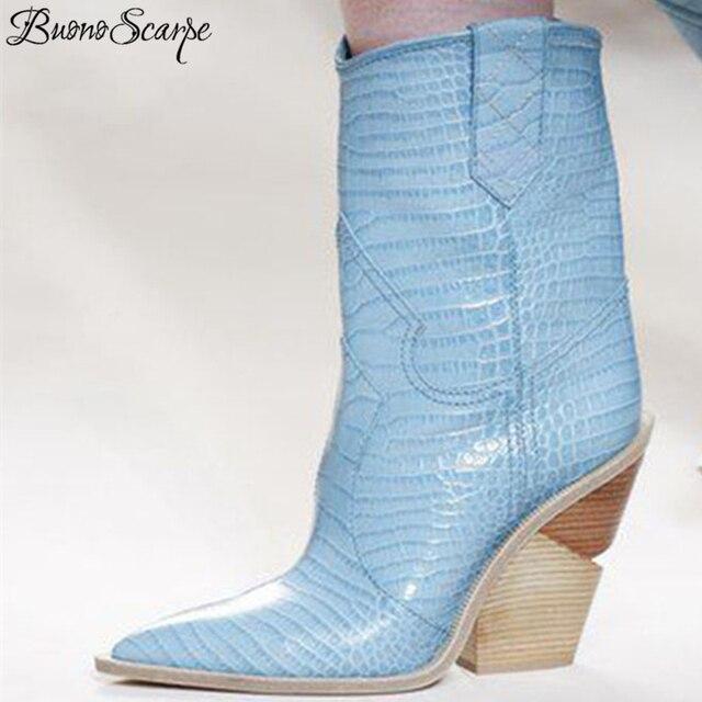 BuonoScarpe Krokodillenleer Botas Mujer Westerse Laarzen Cowboy Laarzen Voor Vrouwen Runway Ontwerp Chunky Wiggen Hak Mid-kalf Laarzen 2018