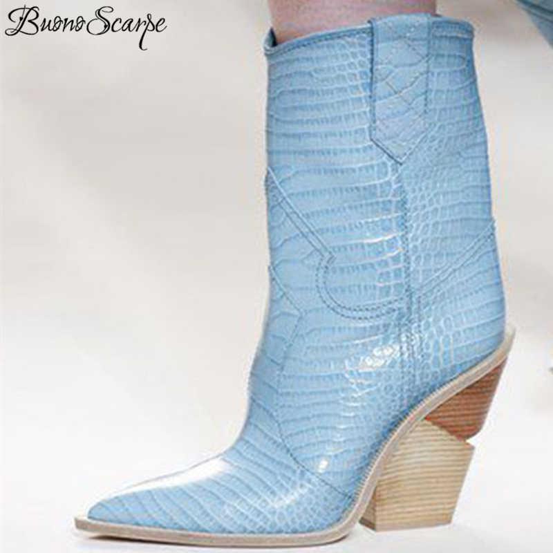 BuonoScarpe Timsah Derisi Botas Mujer Batı Botları Kovboy Çizmeleri Kadınlar Için Pist Tasarım Tıknaz Takozlar Topuk Orta buzağı Çizmeler 2018