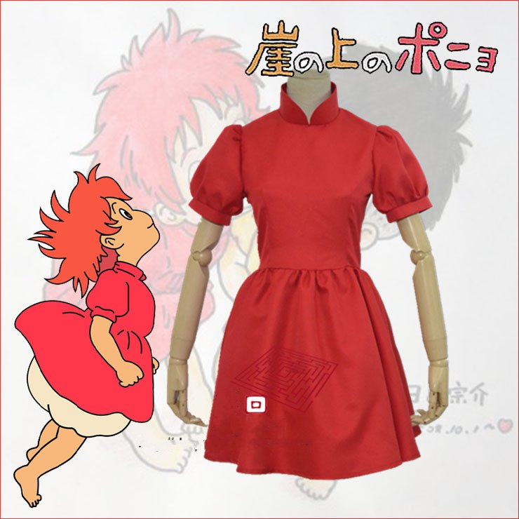 Hayao Miyazaki Movie PONYO Cosplay Costume Lovely Halloween Red Dress Custom Made For Women image