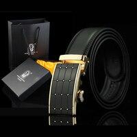 Designer de Marca Dos Homens De Alta Qualidade Calças de Cintura Cinto Preto Luxo Metal Fivela de Ouro Cintos de Couro Da Moda Caixa de Presente Q348