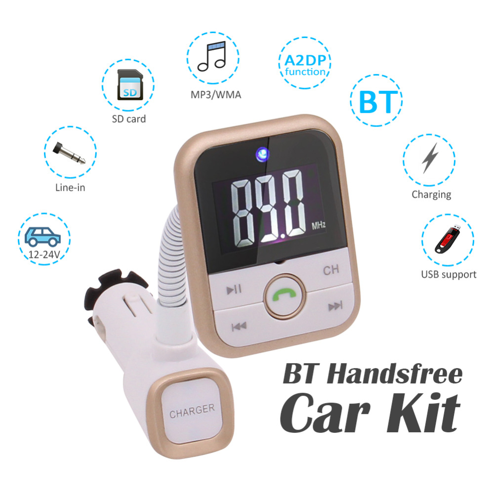 Bluetooth MP3 Player FM Transmitter music songs Car Kit Charger USB Charging 5V/2.1A Output Micro SD/TF Card Reader Slot Charger