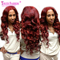 Sexy Wavy 99j Burgundy Lace Front Wig Human Hair Lacefront Wigs Virgin Brazilian Glueless Middle Part 130% For Fashion Women