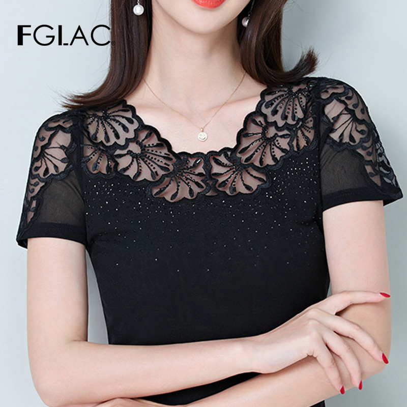 FGLAC Women   blouse   new Arrivals Summer short sleeve lace   shirt   Hollow out Diamond black blusas mujer de moda 2019