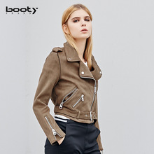 Female Jacket Chamois leather Velour leather Clothes Short Jackets With Belt Women Slim Vintage Coat Spring Winter
