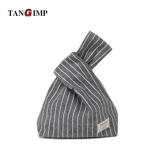 e41c334380ce TANGIMP Vertical Stripes Wristlets Bags Cotton Japanese Style Handbags Tote  Simple Coin Purse for Gift Original Big Capacity