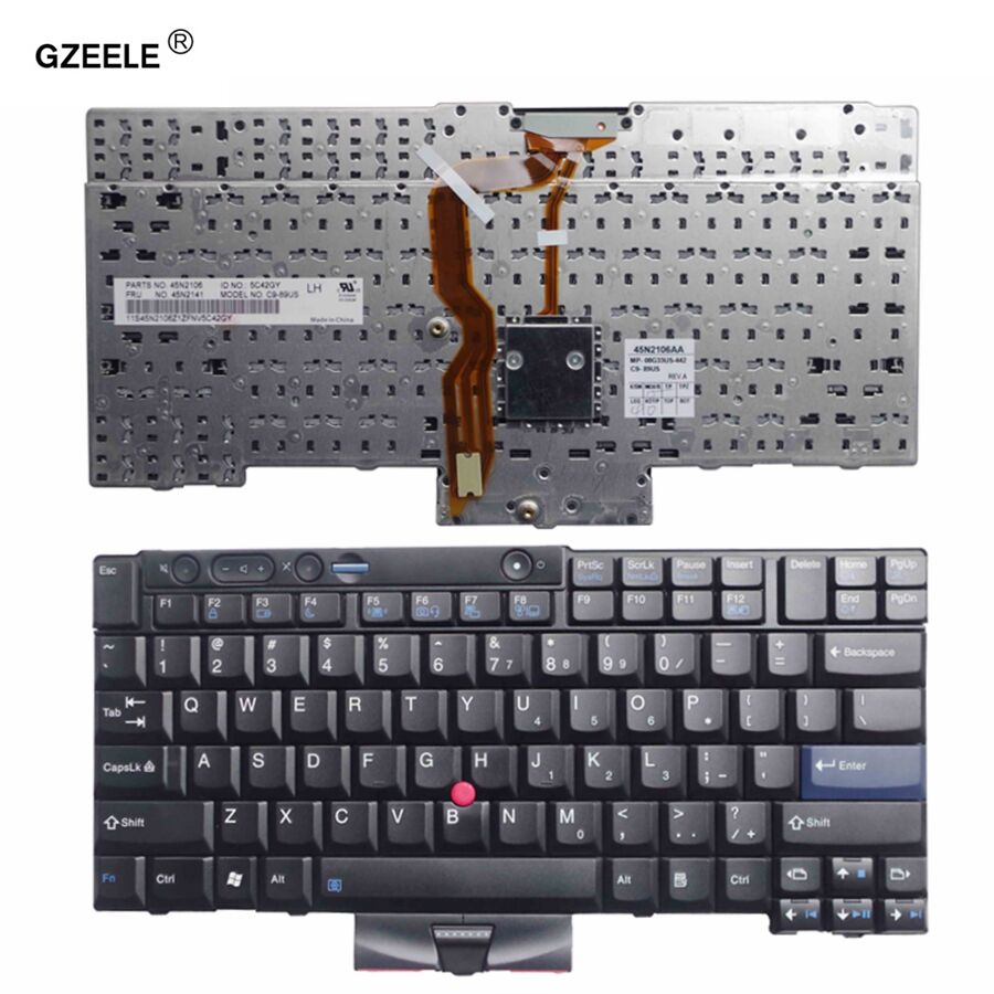 GZEELE New for Lenovo for Thinkpad for IBM T410 T410S T400S T520 T420 X220 W500 T510 W510 English laptop keyboard US FRU 45N2141 new for lenovo ibm thinkpad p70 p70s series english us laptop keyboard