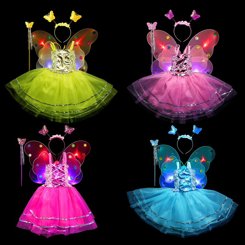 4pcs/lot Shining Butterfly Cosplay Costume Stage Party Costume Fairy Girl Kid Flash Butterfly Wing Wand Headband Dress Set