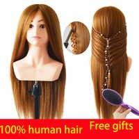Cabeza de entrenamiento de cabello humano de alta calidad 100% para la Cabeza de maniquí con hombro