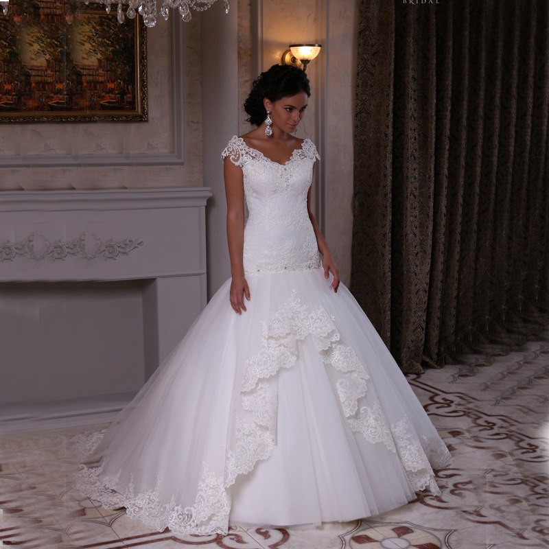 elegant mermaid wedding dress long 2016 new sexy ivory applique v neck tulle vintage vestidos de