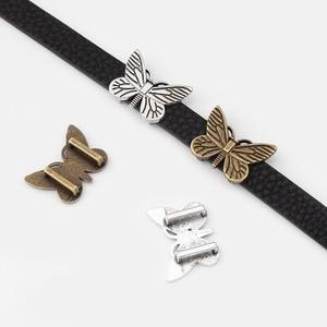 10 шт. 10x2 мм плоские кожаные бабочки ползунок разделители бусины для 5 мм 10 мм плоский кожаный шнур браслет Ювелирная фурнитура