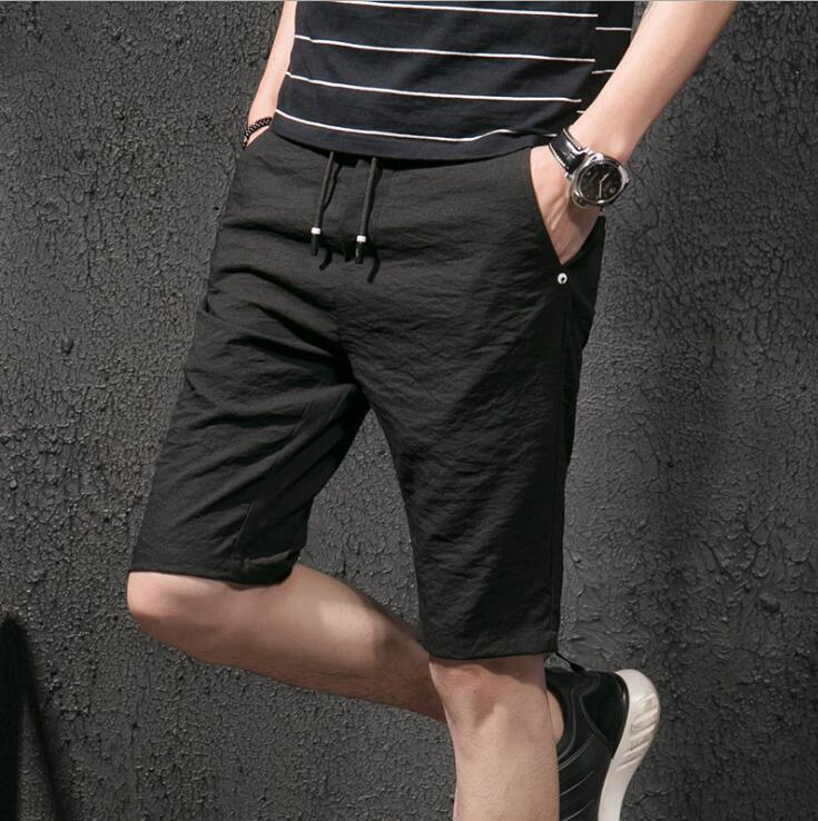 2018 Summer Breathable Linen Quick Dry Running Shorts Men Sport Shorts With Pockets Size L-4XL 4 Color Factory Dropshipping