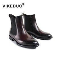 Vikeduo дизайнер ботинок ручной работы модный роскошный Повседневный Зимние вечерние Челси женский платье для отдыха пояса из натуральной кож