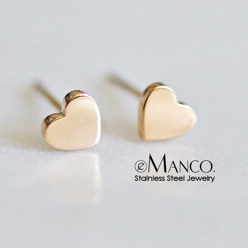 E-manco 2019 Exquisite Stainless Steel Stud Earring Women Mini Heart-shaped Earrings Ladies For  Wife Friendship aretes de mujer