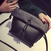 ANTBOOK Vintage Tassel Women Shoulder Bags Female High Quality Solid Crossbody Bag For Women Black Messenger