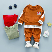 Children Baby Boys And Girls New Spring Autumn Fashion Casual Solid Color Round Collar Two-piece Pants Set 1-5Y Toddler Clothes