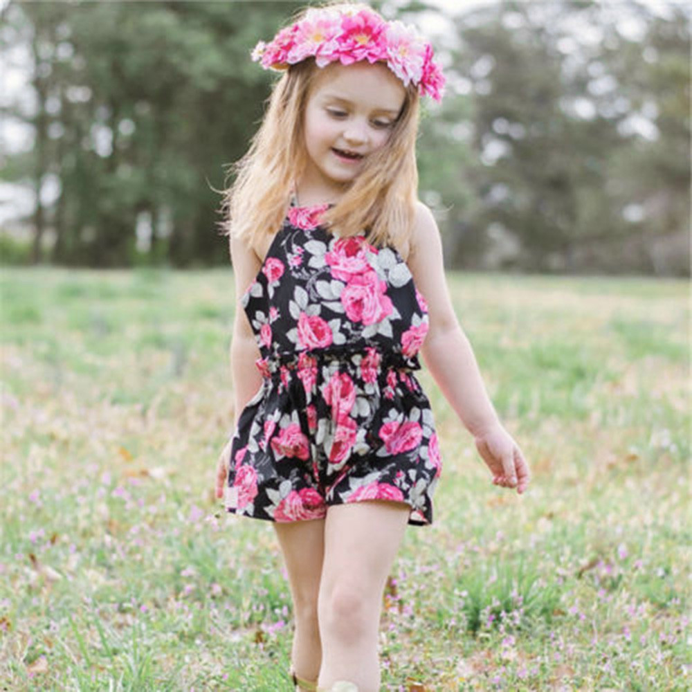 ISHOWTIENDA kit for newborns baby girl outfit Strap Print Backless baby suit Jumpsuit baby Romper summer baby girl clothes