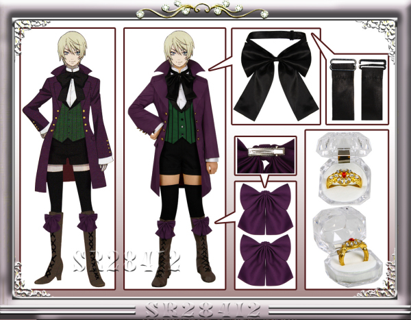 Anime Black Butler Season 2 Earl Alois Uniform Trancy Cosplay Party Costume Custome With Ring image