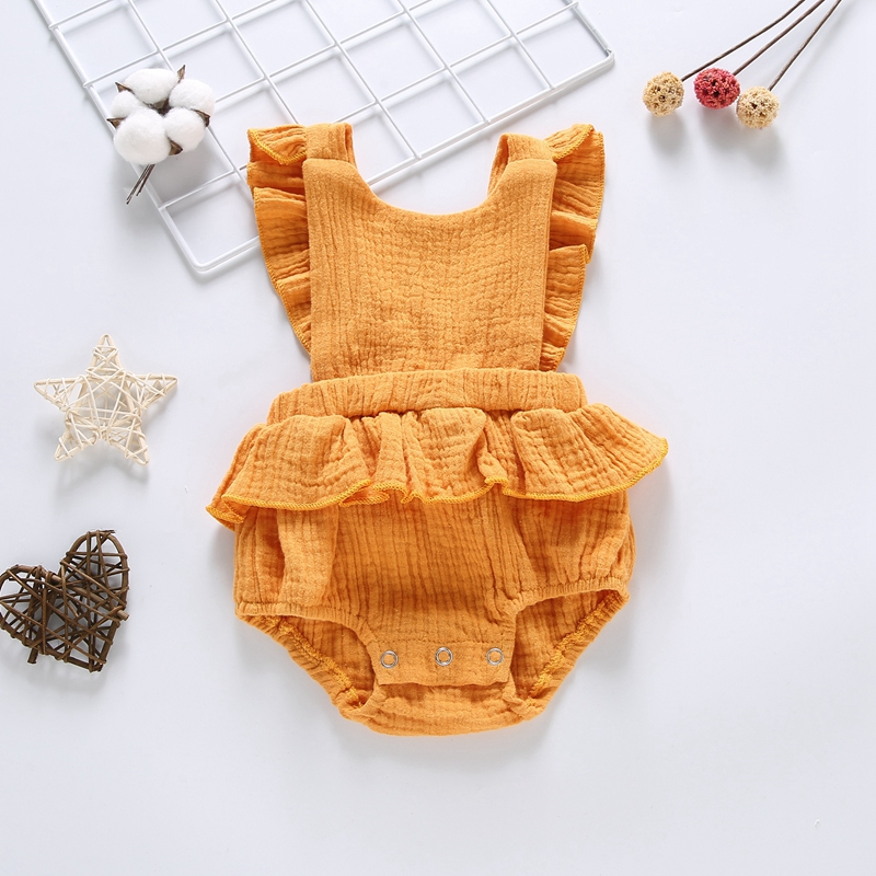 Fashion Baby Newborn Girls Backless Design Jumpsuit Flare Sleeve Romper Infant Casual Bodysuit Outfits Home School Clothes