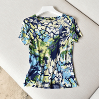 Summer Silk Blouse With Short Sleeves And Large Size Silk Blouse