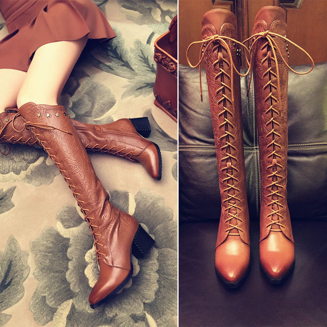Hight Quality leather Sexy Knee High Snow Boots Womens Fashion Punk Winter Lace Up Tall Boots