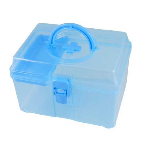 YOST Blue Clear Plastic Family Healthy Box MedicIne Chest Pill First Aid Case