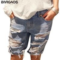Stile di estate girl friend 2015 foro strappato casual indossato hot sexy mid vita denim shorts signore jeans grandi taglie shorts per le donne