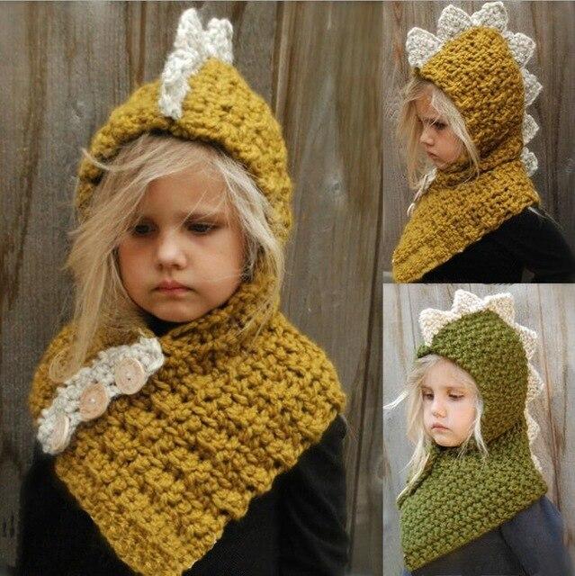Dinosaurus Vorm Haak Hooded Baby Sjaal Winter Leuke Warme Kinderen