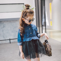 2 Colors Girl Cowboy Dress 2017 Autumn New Girl Fashion Casual Clothes Net Yarn Button Lace